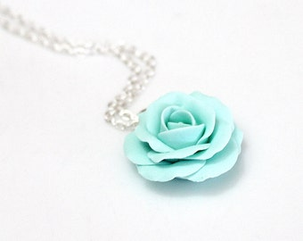 Mint green rose, mint green flower necklace, mint Rose necklace, Wedding Jewelry Gift