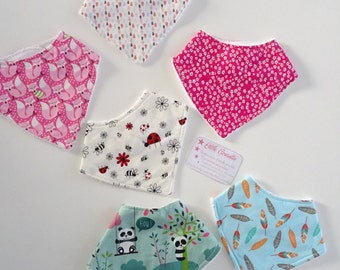 Set of 6 baby bandana bibs