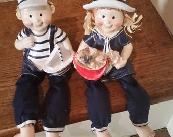 Boy and Girl Sailor Figurine Set, Collectabe Figurines