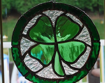 St. Patricks day stained glass Shamrock suncatcher wall hanging