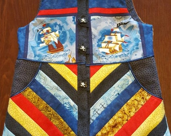Padded Vest - Size 4 - Pirates and patchwork Simply Stunning