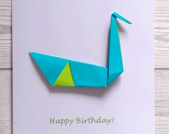 Greetings Card - Swan- removeable origami swan