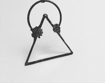 Pendentif en verre géométrique | Chaîne en triangle | Bijou | Pendentif en verre vitrail