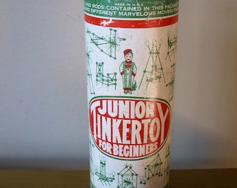 Vintage TINKER TOY set -Junior -For Beginners- 1920s -63 pieces -Toy Tinkers Inc -collectible toys- classic -Educational toys -antique toys