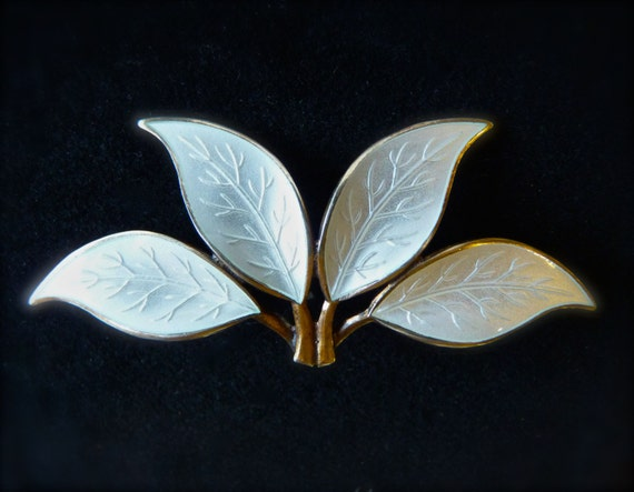BROOCH ~ DAVID ANDERSEN ~ Sterling Silver ~ Gold Vermeil Wash~ Luminescent Enameled Leaf ~ Vintage ~ Norway ~ Free Shipping ~ Christmas Gift