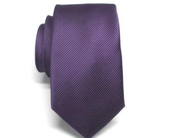 Mens Ties. Grape Purple Tonal Stripe Skinny Necktie
