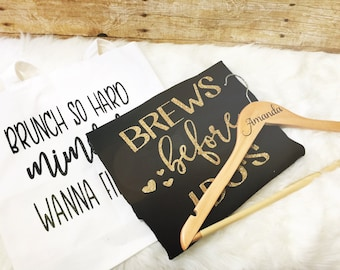 Bridal Party Gift Set | Bridal Party Gift | Bridesmaid Gift | MOH Gift | Wedding Shirt,  Wedding Tote, Wedding Hanger