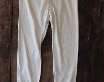 """Vintage 1950s 50s french army military fine knit cotton long johns thermal underwear button fly tie back 32"""" waist"""