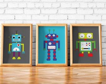 Robot art etsy for Robot room decor