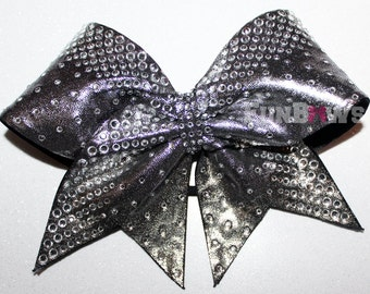 Gun Metal  BIG Rhinestone  Cheer Bow  by FunBows !