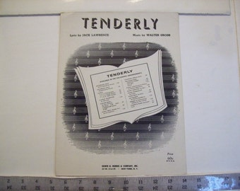 Tenderly - vintage sheet music by Jack Lawrence and Walter Gross  1947