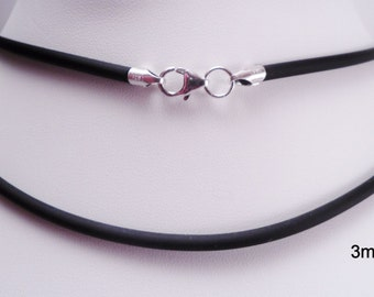 3mm black rubber cord necklace sterling silver ends & lobster clasp - you pick length