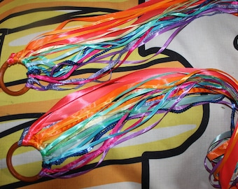 NEW - rings on ribbons Rainbow multicolor shades