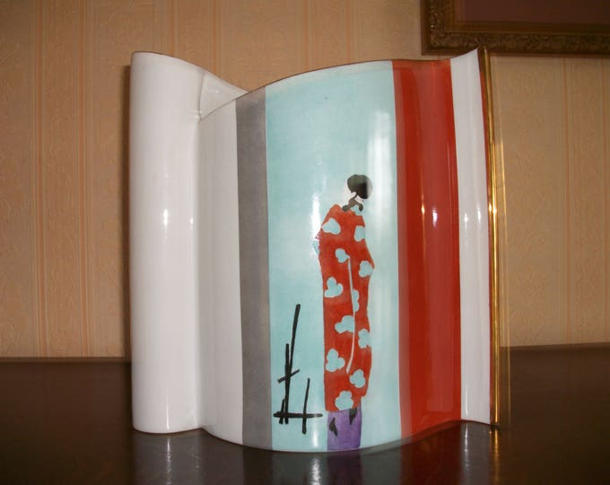 large porcelain vase / handmade hand painted / design / art nouveau pattern