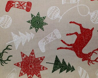 Sewing, Christmas, Fabric, Winter Wonderland Collection, Reindeer, Trees, Stockings, Sewing, Quilting, By The Yard, By The Half Yard
