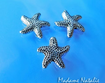 Starfish Beads 14mm (12pc), Tibetan Silver Starfish Beads , Antiqued Silver Spacer Beads, Ocean Life Theme Supplies