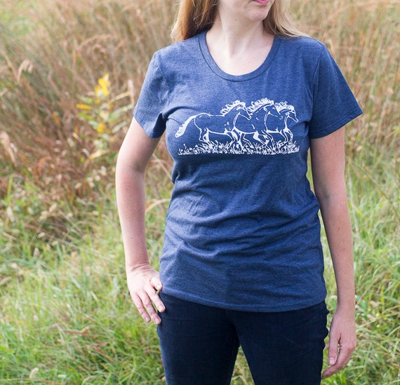 Organic Screen Printed T Shirt / Free Spirit Tee / Horse Drawing Printed T Shirt / Ready to Ship