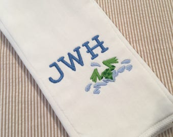 Monogrammed Frog Burp Cloth Embroidered Custom Baby