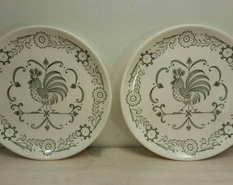 SCIO POTTERY Dessert Plates Set of Two (2) Rooster Weathervane Collectible Chicken & Scio pottery | Etsy