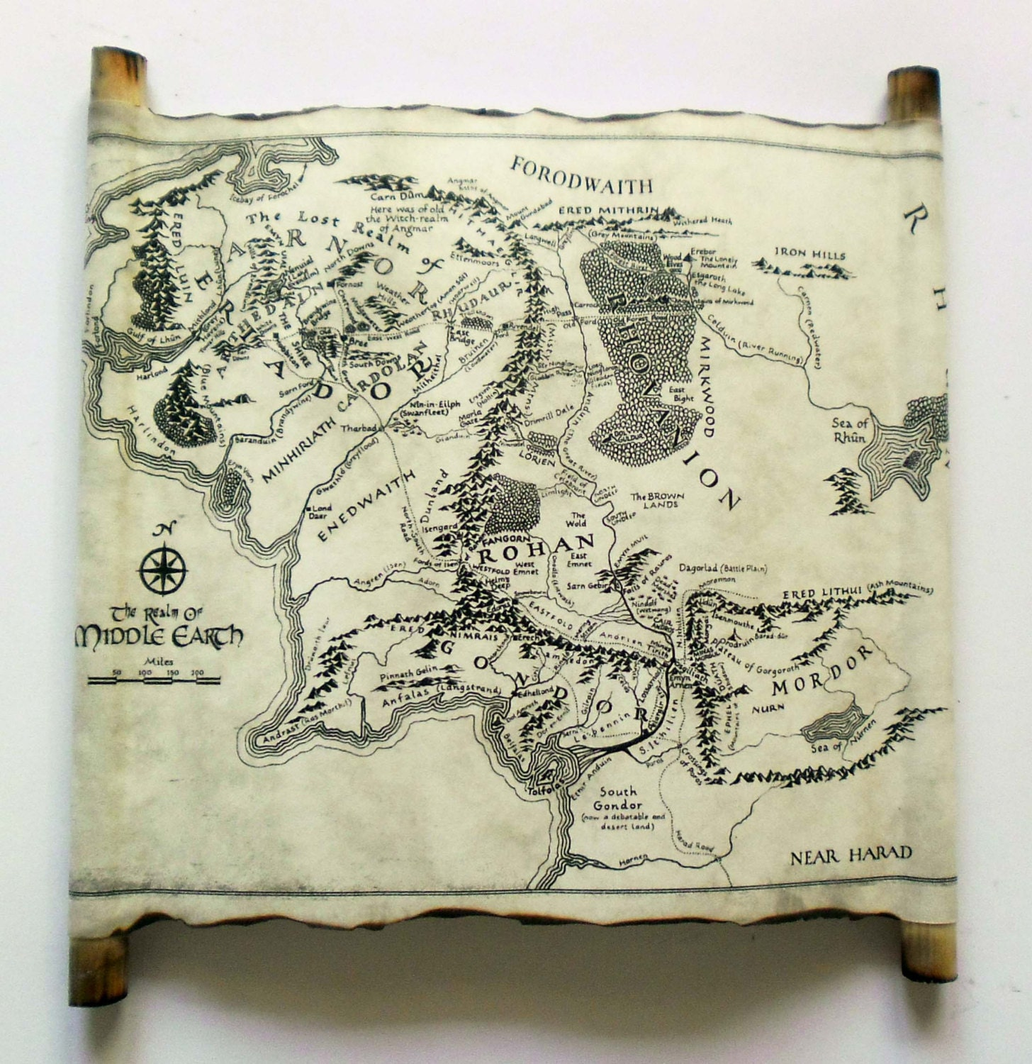 🔎zoom. map of middle earth scroll lord of the rings map the hobbit