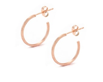 Small 18k Rose Gold Vermeil Hoop Earrings - Rose Gold Hoops - Hammered Rose Gold Hoop Earrings