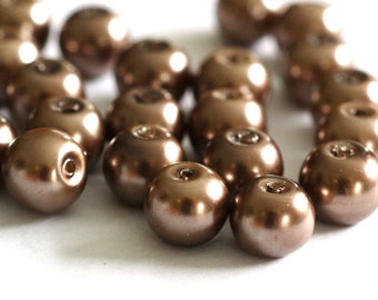 50pcs 8mm Tan Pearl Glass Beads HY8mm76