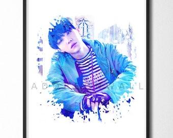 BTS Bangtan Boys Suga Watercolor Wall Art - Instant Digital Download, Printable Wall Poster Print, Room Decor