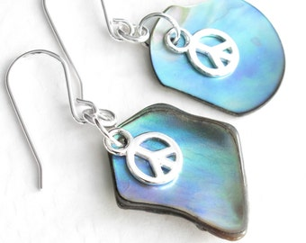 Peace Sign Earrings, Paua Abalone Shell Jewelry, Sterling Silver Hippie Jewelry
