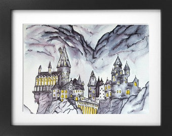Harry Potter Original Painting Hogwarts Castle ink and watercolour A4 size