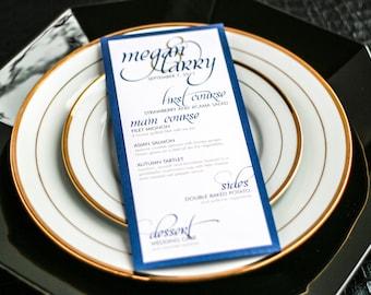 "Dinner Menus, Navy and Gold Invitations, Calligraphy Menu, Luxury Wedding Stationery - ""Dramatic Script"" Flat Menu, 1 Layer - DEPOSIT"
