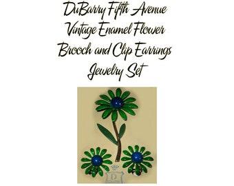 Vintage DuBarry Fifth Avenue Green Enamel Flower Clip Earrings and Brooch Set  * U5004 Retro Flower Power Demi Parure