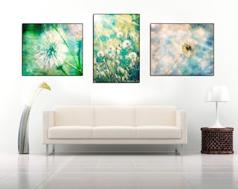 Dandelion ART SET, prints,dandelion poster,wishes,make a wish,whimsical,nursery art,turquoise,sunshine,sun rays,flowers,surreal,home decor,
