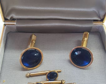 Elegant SWANK Cobalt Blue Cabachon Cufflinks and Shirt Studs. Vintage