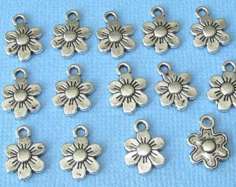 14 Daisy Sunflower Flower Charms Silver Tone 10mm x 13mm Little