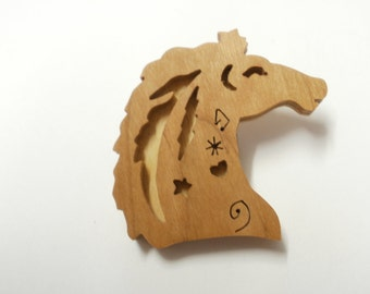 whimsical horse head wooden  brooch scroll saw