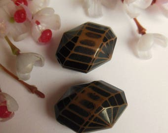 set of 2 Brown and black plastic beads