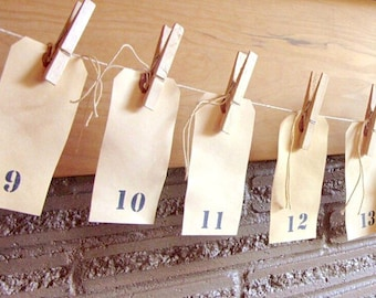 Large Rustic Tea Stained Numbered Tags with Clothespins and Twine Wedding Table Numbers - Shipped to you