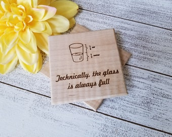 Optimist Gift, Custom Engraved Wooden Coasters,  GIFT WRAP & TAG