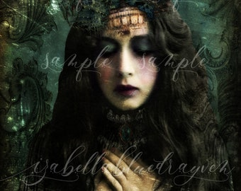 Fine Art Print Mixed Media Portrait Altered Digital Art Goth Gothic Victorian Steampunk Surreal Boho Gypsy Witch Wiccan