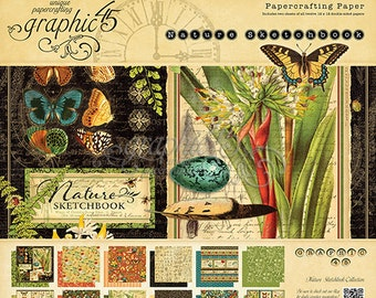 "Graphic 45 ""Nature Sketchbook"" 12 x 12 Paper pad Cardstock Collection"