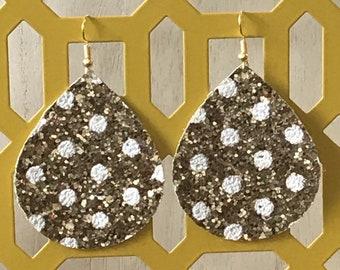 Gold Chunk Teardrop Earrings