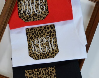 Monogram pocket tee, monogramed shirts, Monogram Shirt, monogram Leopard pocket tee,monogrammed shirt bridesmaid gift