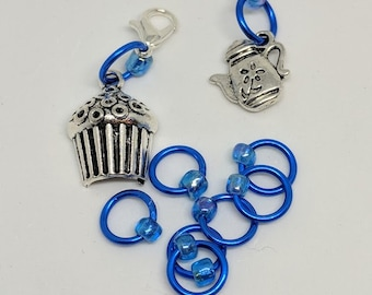 Cupcake & Tea Stitch Markers  (Fit up to size 4 mm/US6)