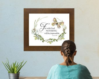 For with God Nothing will be impossible inspirational download Printable Art Print decor LemonDropImages