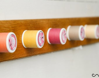 Handmade Wooden Coat Rack Unique Solid Wood Pink & Beige Thread-Reel Peg Wall Mounted Coat Rack 5 Hooks