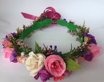 Pink & purple statement flower crown