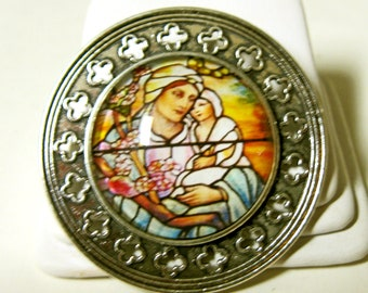 Madonna stained glass window pin/brooch - BR10-026