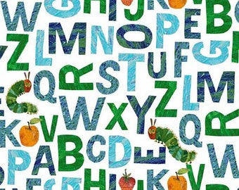 The Very Hungry Caterpillar Blue Green Alphabet from Andover Fabrics by Eric Carle