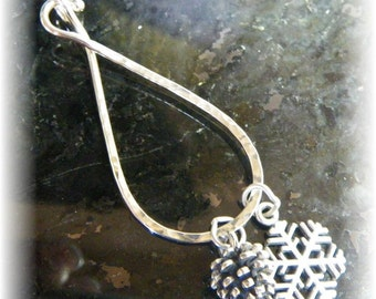 Sterling Silver Thick Organic Long Locking Large Charm Holder for Your Own Charms - Handmade to Order