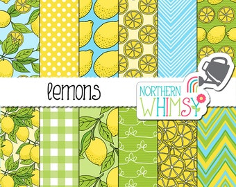 "Summer Digital Paper - ""Lemons"" - hand drawn citrus seamless patterns in yellow blue & green - lemon  scrapbook paper - commercial use CU OK"